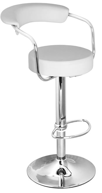 Berty Breakfast Bar Stool White Cushioned Padded Seat and Backrest