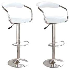 Berty Chrome White Bar Stool Faux Leather Cushioned Seat and Backrest