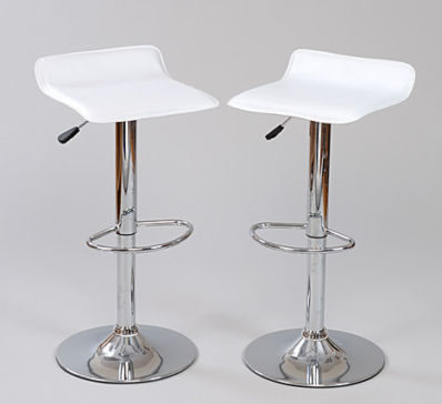 White Fusion Adjustable padded white bar stool