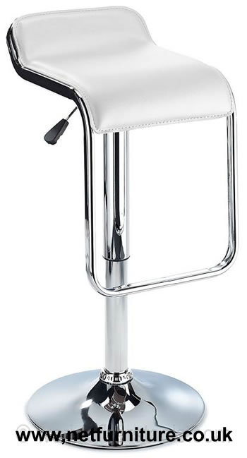 Larred Kitchen Bar Stool White Padded Seat Chrome Frame and Footrest
