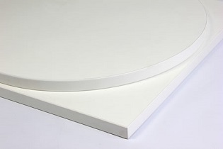 Taybon laminate white table top, large, small round, square