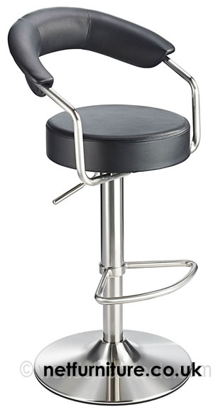 Pinnacle Brushed Stainless Steel Adjustable Bar Stool in Variety of Colours