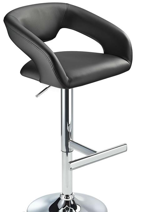 Mesoni Kitchen Breakfast Bar Stool T Bar Footrest Black Padded Seat Height Adjustable