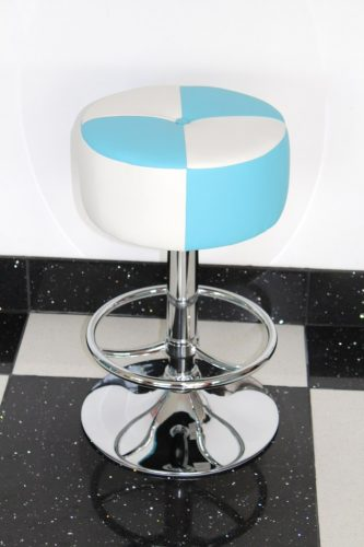 Morasi American Diner Retro Style Kitchen Bar Stool Blue and White Padded Seat