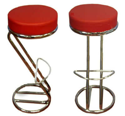 'Z' shaped red breakfast kitchen bar stool