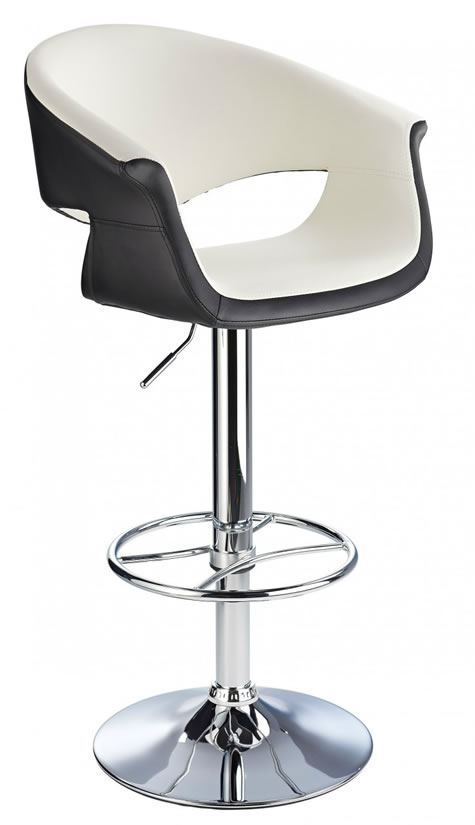 Apene white and black kitchen height adjustable kitchen bar stool with padded back