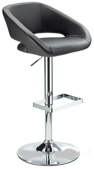 Active Modern kitchen bar stool with black padded seat adjustable height and unique glass footrest