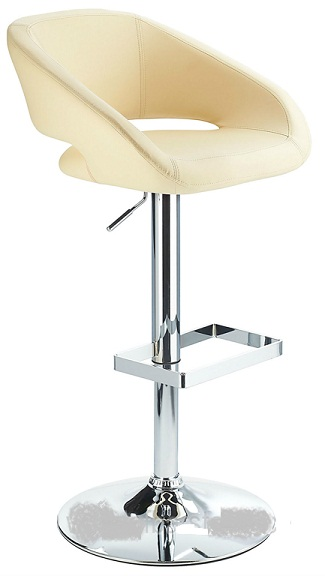 Active Modern kitchen bar stool with cream padded seat adjustable height and unique glass footrest