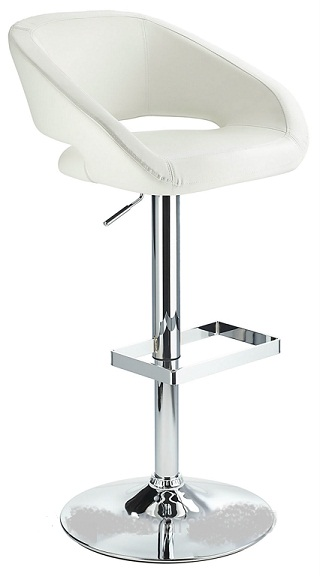 Active Modern kitchen bar stool with white padded seat adjustable height and unique chrome footrest
