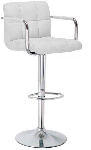 Primasy Adjustable Kitchen Bar Chair Stool - White Padded Seat with Arms