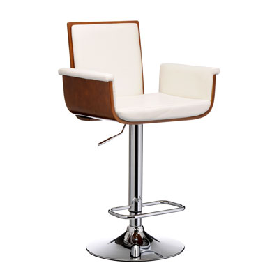 Pramoze Kitchen Walnut Bar Stool - Height Adjustable Chrome Frame