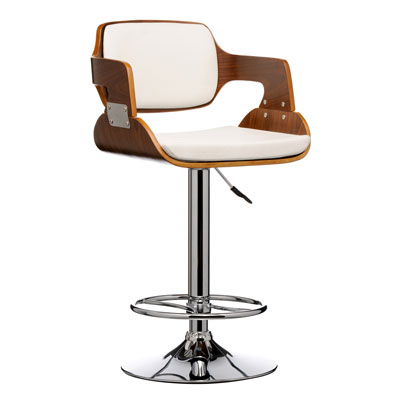 Prome Walnut and White Kitchen Breakfast Bar Stool Height Adjustable With Back