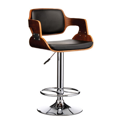 Prime Adjustable Kitchen Bar Stool - Walnut and Black Seat