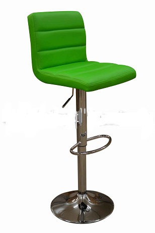 Ocean Green Bar Stool - Height Adjustable Chrome With Back