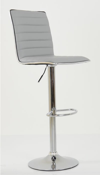 Crispi Kitchen Breakfast Bar Stool Grey Padded Seat and Back Silver Trim Height Adjustable