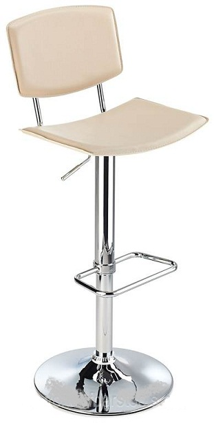 Traditional Padua kitchen bar stool with cream faux leather seat and adjustable height