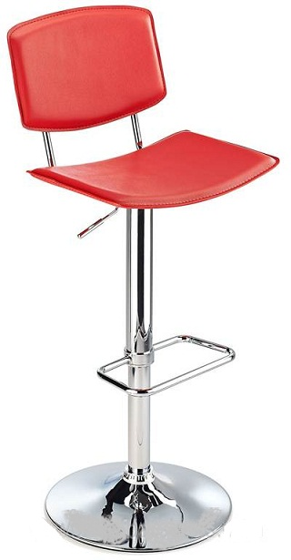 Traditional Padua kitchen bar stool with red faux leather seat and adjustable height