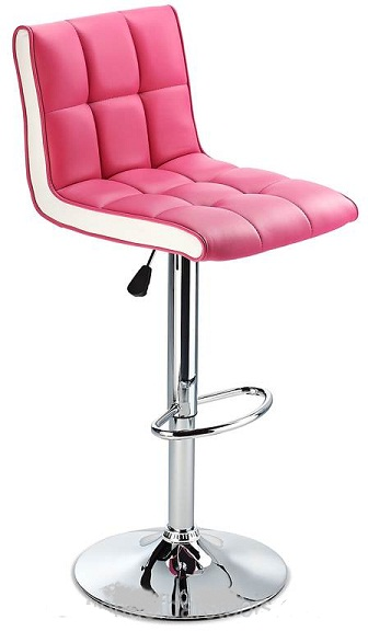 Molto Adjustable Height Bar Stool - with pink faux leather seat and contrasting white side panels