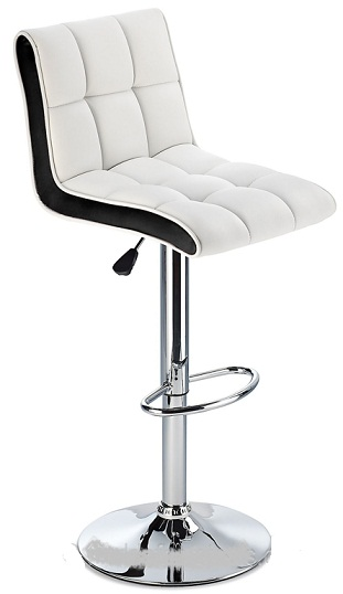 Molto Adjustable Height Bar Stool - with white faux leather seat and contrasting black side panels