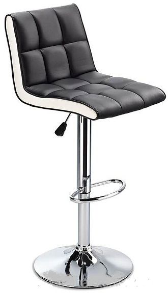 Molto Adjustable Height Bar Stool - with black faux leather seat and contrasting white side panels