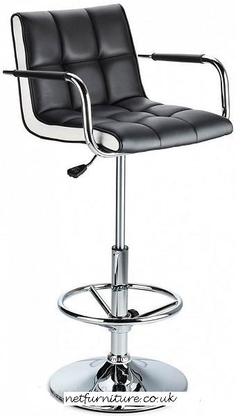 Molto Adjustable Height Bar Stool With Arms Black Faux Leather Seat