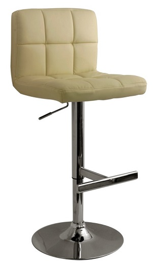 Bartok Leather Bar Stool with Brushed Steel Frame and padded seat