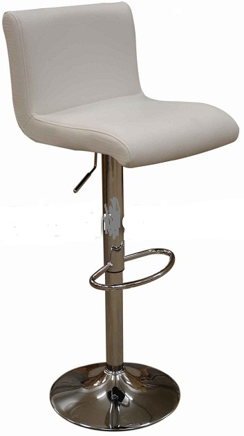 Tenor Kitchen Breakfast Bar Stool Padded White Seat Low Back Height Adjustable