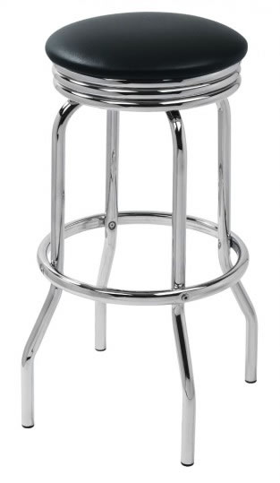 Fountain Retro Black Kitchen Bar Stool Padded Seat Chrome Frame