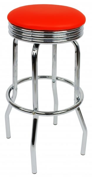 Fountain Retro Red Kitchen Bar Stool Padded Seat Chrome Frame