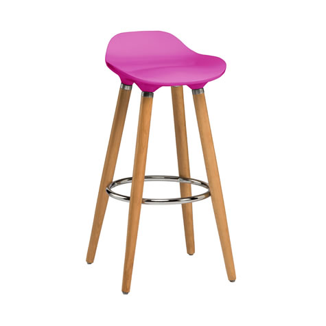 Blasene Hot Pink Modern Kitchen Bar Stool Height Fixed Height Beech Legs