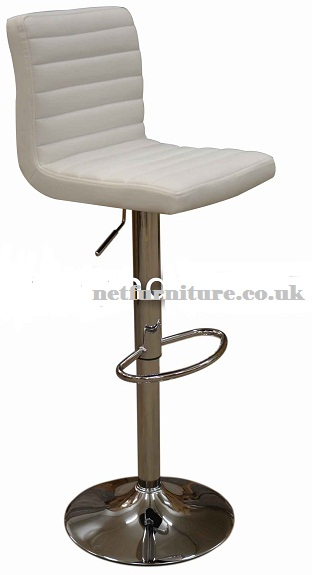 Serene White Breakfast Kitchen Bar Stool Padded Seat