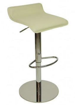 Baconay Quality Kitchen Breakfast Bar Stool Cream Or Black Padded Seat Height Adjustable Chrome Frame Weighted Base