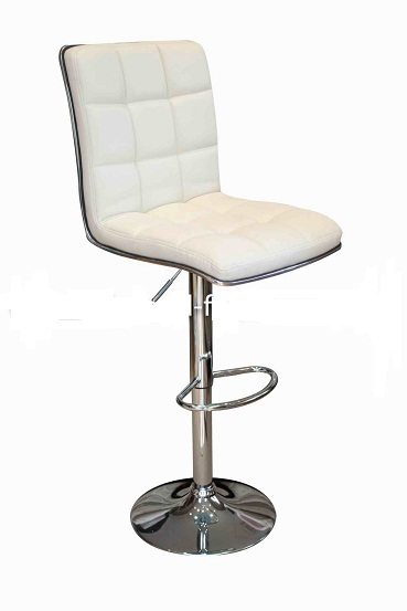 Penguin Kitchen Breakfast Bar Stool Cream Padded Seat and Back Height Adjustable