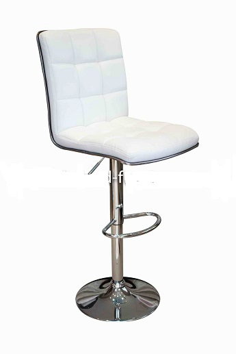 Penguin Kitchen Breakfast Bar Stool White Padded Seat and Back Height Adjustable