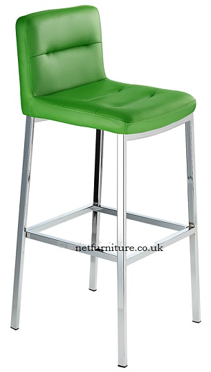 Salisbury Fixed Height Bar Stool with Polished Frame and Green padded seat