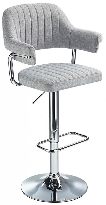 Vibe Retro Style Adjustable Bar Stool with Padded Fabric Seat And Arms Chrome Frame 3 Colours