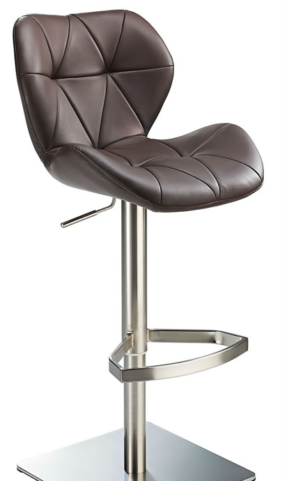 Saypon Brown Real Leather Kitchen Bar Stool Brushed Steel Height Adjustable Kitchen Square Base