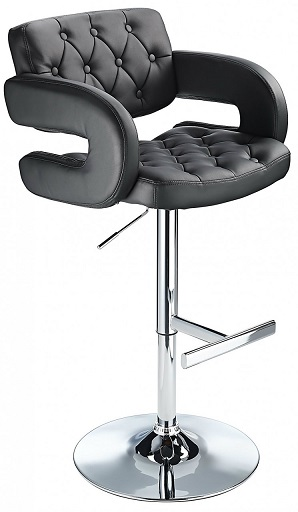 Nairn Height Adjustable Bar Stool with Black Padded Swivel Seat
