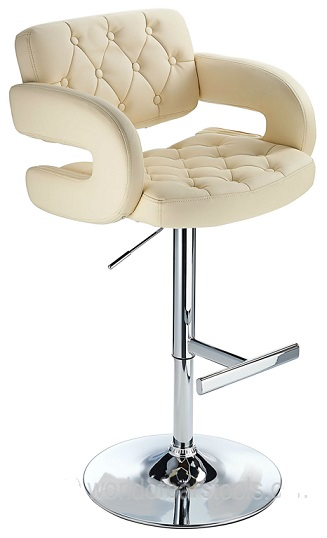 Nairn Height Adjustable Bar Stool with Cream Padded Swivel Seat