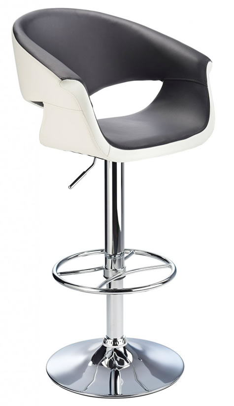 Apene black and white kitchen height adjustable bar stool with padded back