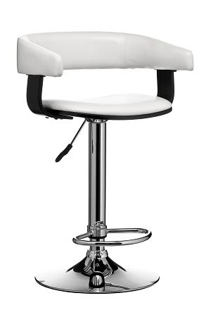 Stoffo Kitchen Bar Stool - Wood And Leather Effect Seat Height Adjustable
