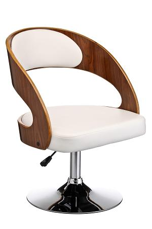Barsony Adjustable Bar Chair - Wood Faux Leather