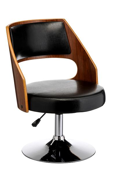 Barzont Swivel Relaxing Chair - Wood and Leather Effect