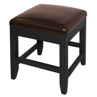 Barnaby Brown Faux Leather Dark Brown Stool - Low - Wood Frame