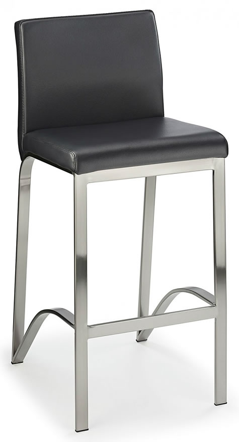 Fozany Brushed Kitchen Breakfast Bar Stool Black Padded Seat