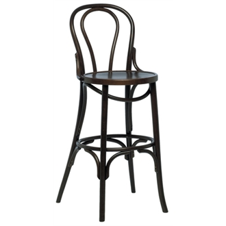 Bayson Quality High Bar Stool - Walnut in Pairs - Fully Assembled