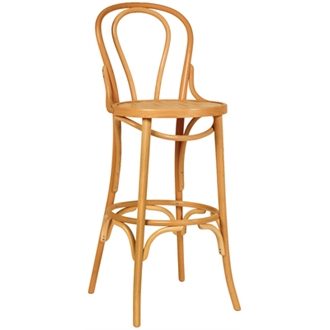 Bayson Beech Wood High Bar Stool - Natural Beech Fully Assembled