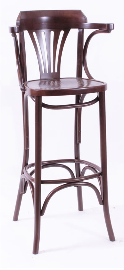 Bayson Quality Bar Stool Wood Frame High Stool - Walnut Fully Assembled With Arms