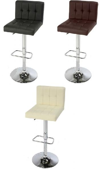 Berl Padded Stool Chrome and Faux Leather