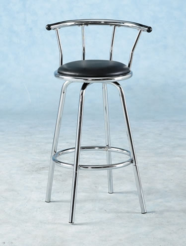 barbados kitchen swivel stool padded seat chrome frame and back